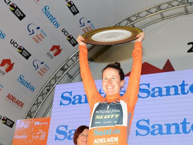 Amanda Spratt of Australia celebrating the women's Tour Down Under in Adelaide.