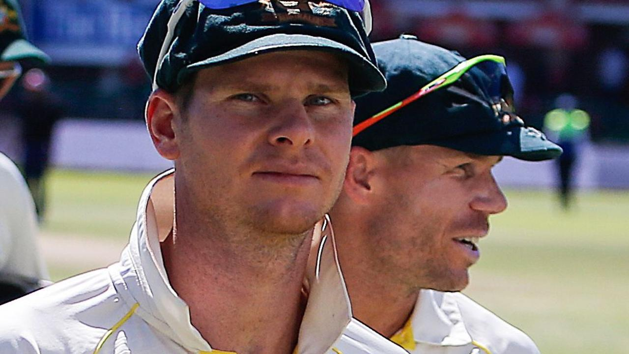 Australia's former captain Steve Smith with David Warner (right) in 2018. Picture: AFP