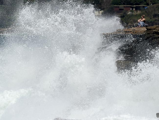 The ex-tropical cyclone swell at the beach at Bronte on Friday. Picture: Jeremy Piper