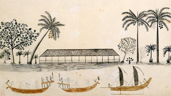 Tahiti scene drawing from Cook's first voyage showing long house, coconut trees and canoes.