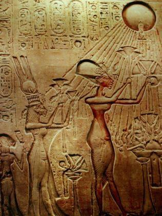 Royal revolutionaries ... Pharaoh Akhenaten, his Queen Nefertiti and their children shown worshipping the sun. Source: AP