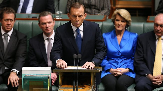 Tony Abbott delivers his Budget reply speech in the House of Representatives. Picture: Ray Strange