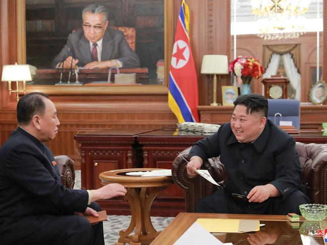 North Korean leader Kim Jong-un, right, meets Kim Yong-chol, who travelled to Washington to discuss denuclearisation talks. Picture: AP