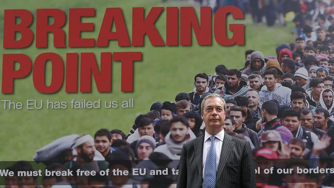 Nigel Farage poses during the launch of a national poster campaign urging voters to vote to leave the EU. Picture: Daniel Leal-Olivas