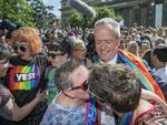 Melbourne: Bill Shorten with thousands of people celebrating the same-sex Marriage result party on the steps of the state library. Equality Campaign community event to broadcast live same-sex marriage survey results to the crowd. Picture: Jason Edwards