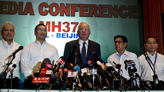 Malaysian Prime Minister Najib Razak addresses the media in Sepang. Picture: AFP