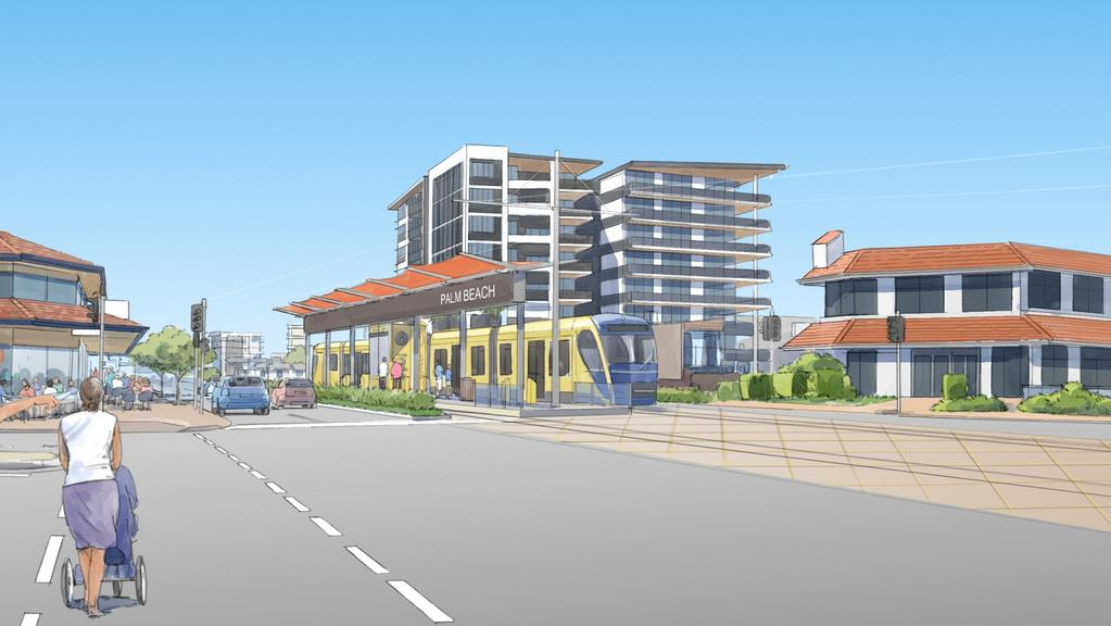 Artist impressions of the light rail travelling through central Palm Beach. Picture: Supplied