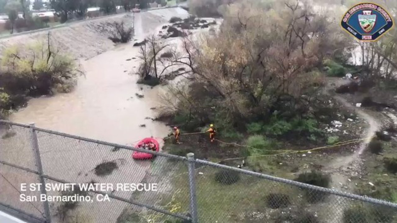Helicopter Makes Night Rescue as Flooding Sweeps Through