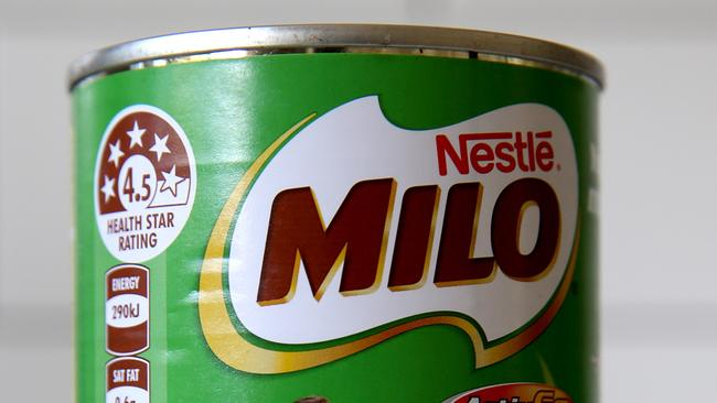 The Government endorsed Health Star Rating system has been adopted by Coles and Woolworths but not by IGA. Some have criticised the system for overstating the nutritional qualities of some products, such as Milo. Picture: Nathan Edwards