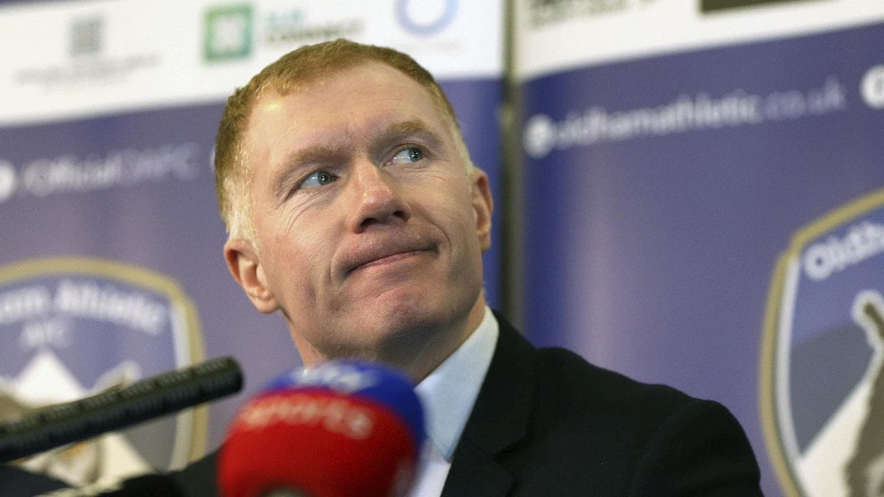 Newly unveiled Oldham Athletic soccer club manager Paul Scholes during a press conference at Boundary Park in Oldham
