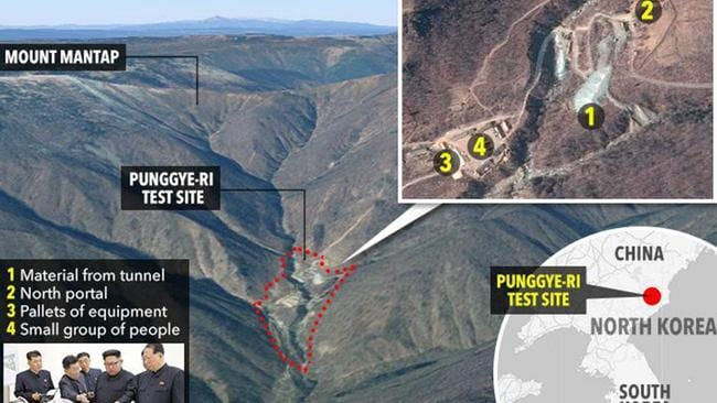 A North Korea nuclear tunnel collapsed last year killing around 200 people amid fears of a massive radioactive leak.. Picture: The Sun