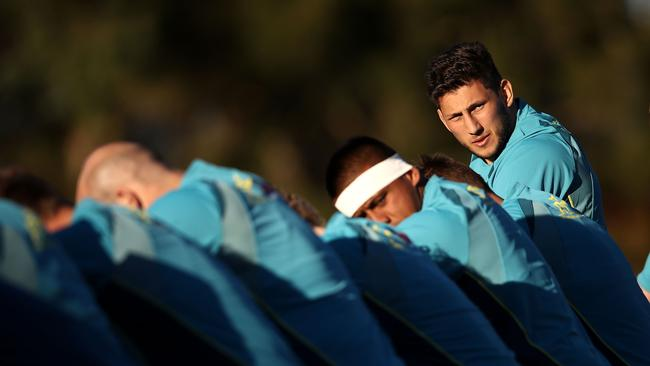 Adam Coleman looks on during a Wallabies training session.