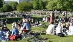 People enjoy the sunny weather in Tantolunden park in Stockholm on May 30, 2020, amid the novel coronavirus pandemic. (Photo by Henrik MONTGOMERY / TT News Agency / AFP) / Sweden OUT