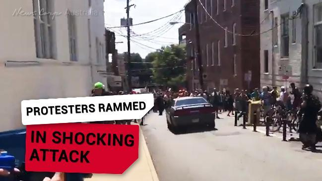 GRAPHIC: Car rams into peaceful protesters at a rally in Virginia