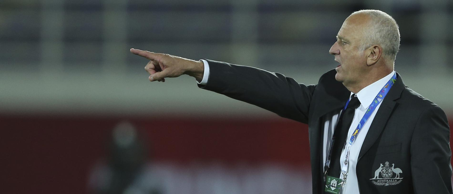 Australia's head coach Graham Arnold gives instructions from the side line during the AFC Asian Cup round of 16 soccer match between Australia and Uzbekistan at the Khalifa bin Zayed Stadium in Al Ain, United Arab Emirates, Monday, Jan. 21, 2019. (AP Photo/Kamran Jebreili)