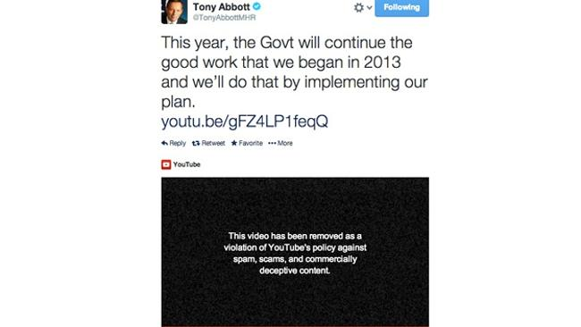 Tony Abbott's deleted tweet featuring deleted video. Picture: Mumbrella
