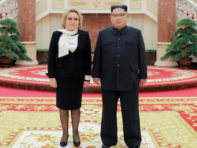 North Korean leader Kim Jong-un, right, and Valentina Matvienko, chairwoman of the Russian Federation Council, met in Pyongyang on Monday. Picture: Korean Central News Agency/Korea News Service via AP