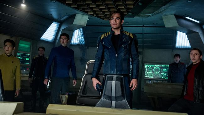 John Cho plays Sulu, Anton Yelchin plays Chekhov, Karl Urban plays Bones, Chris Pine plays Kirk, Zachary Quinto plays Spock and Simon Pegg plays Scotty in a scene from film Star Trek Beyond.