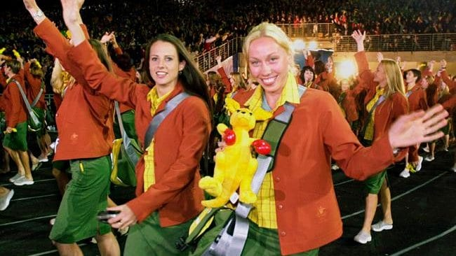 Members of the Australian team carry a stuffed kangaroo as they march into the opening ceremony of the 2000 Summer Olympic Games in Sydney, Australia. Picture: AP