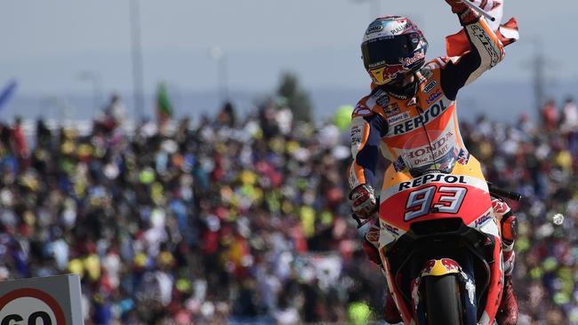 Repsol Honda Team's Marc Marquez celebrates his win.