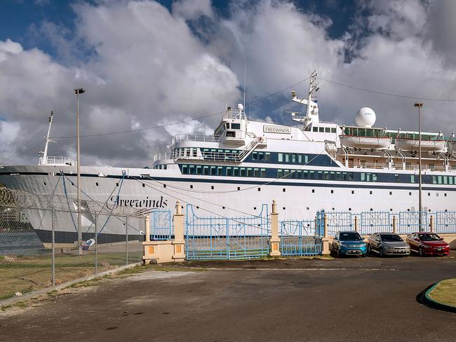 The Church of Scientology-owned  <i>Freewinds</i> cruise ship at St Lucia on May 2 before it was turned back to its home port in Curacao. Picture: Kirk Elliott / AFP