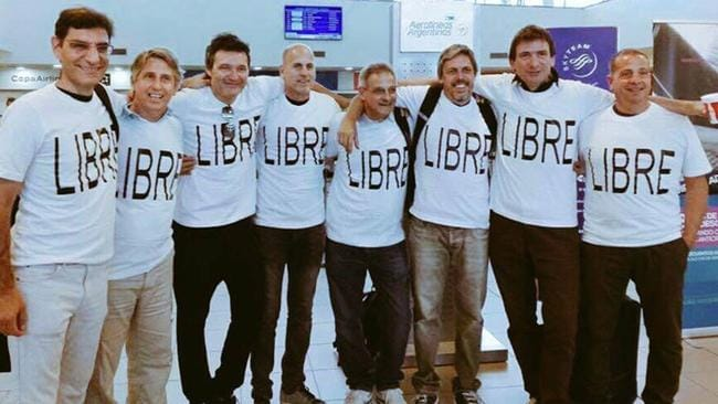 An Argentinian paper has captioned this picture now of the traveling Rosario college friends L-R: Hernán Ferrucchi, Alejandro Pagnucco, Ariel Erlij, Ivan Brajkovic, Juan Pablo Trevisan, Hernán Mendoza, Diego Angelini and Ariel Benvenuto. Picture: Supplied