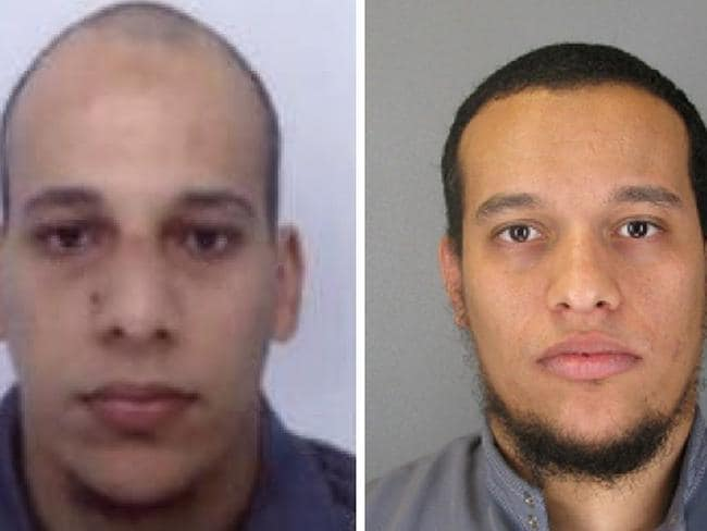 Suspects ... Cherif Kouachi, 32, and his brother Said Kouachi, 34, wanted by police. Picture: AFP