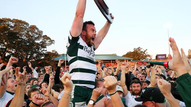 Warringah's Sam Ward celebrates winning the 2017 Shute Shield. Ward's brother Lachlan died playing for the Rats earlier that year.