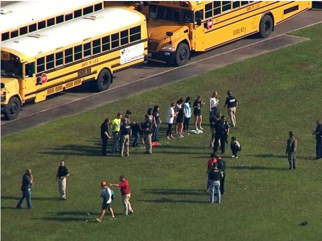 Students from Santa Fe High School in Texas gather after a shooting. Picture: KTRK