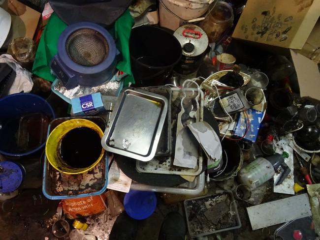 While his wife and kids lived upstairs, the man boiled up MDA in the disgusting kitchen below.
