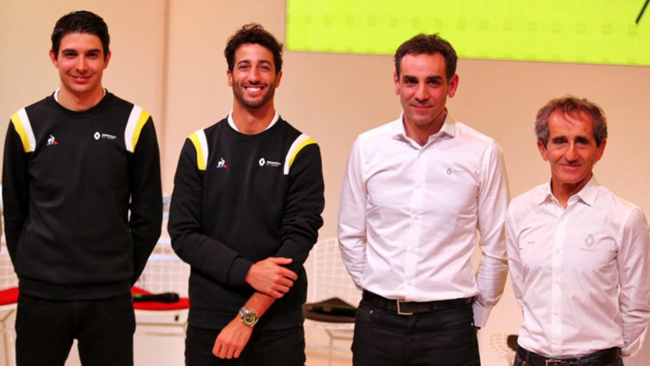 Ocon, Ricciardo, Abiteboul and Prost at the Renault launch.