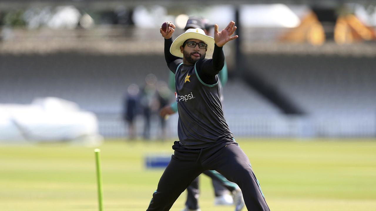Pakistan's Imam-ul-Haq throws the ball during a nets session at Lord's, London