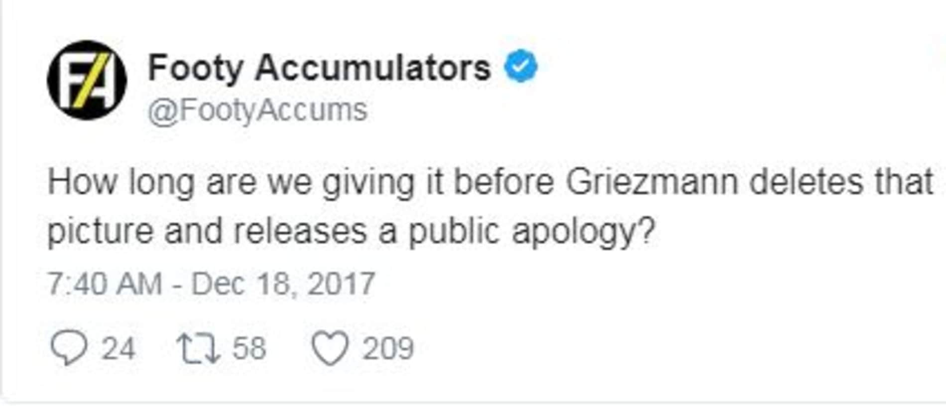 Griezmann had not deleted the tweet after more than 45 minutes