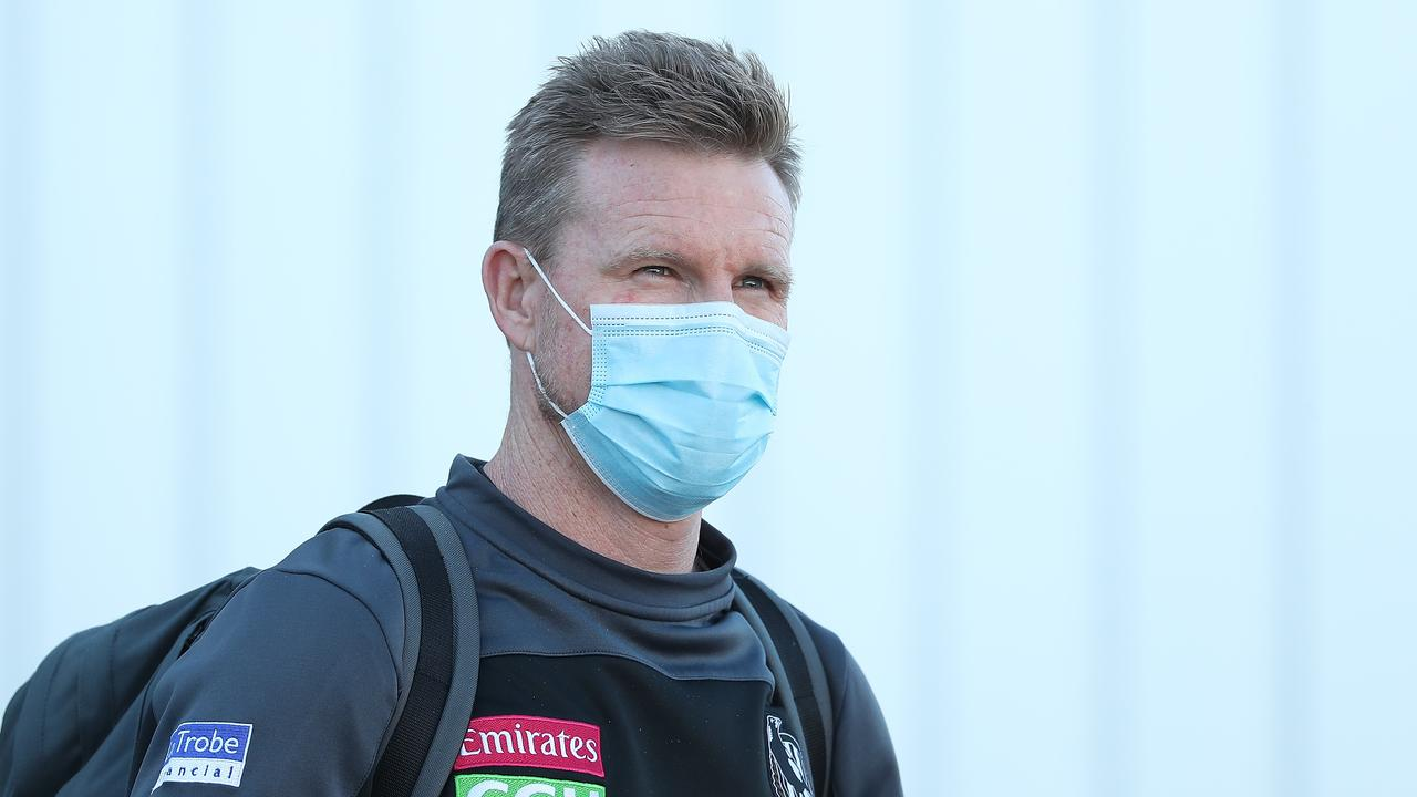Nathan Buckley's Magpies are in Perth preparing for their elimination final. Picture: Paul Kane
