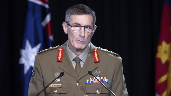 Chief of the Defence Force General Angus Campbell talking to media on the Afghanistan War Crimes report at Defence Headquarters in Canberra. Picture: NCA NewsWire /Gary Ramage