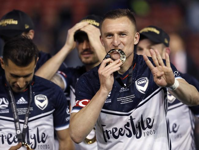 Besart Berisha played a key role in Victory's last title win, over Newcastle Jets back in 2018. Picture: Toby Zerna