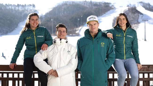 Australian Mogul Skiers (L-R) Britt Cox, Matt Graham, Brodie Summers and Jakara Anthony.