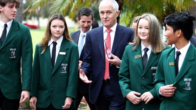Prime minister Malcolm Turnbull visits Swan View Senior High School. (Pic: Colin Murty/The Australian)