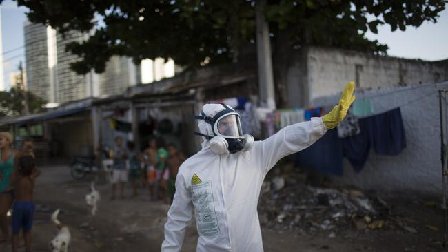 A municipal worker during an operation to combat the Aedes aegypti mosquitoes in Recife, Pernambuco state, Brazil, on Tuesday. Picture: AP / Felipe Dana