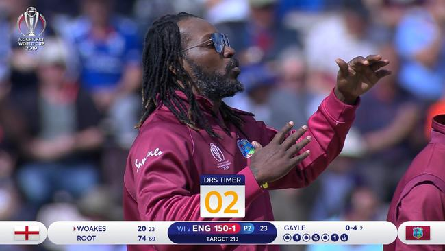 Chris Gayle mocks the DRS system.