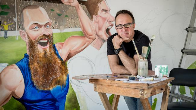 Herald Sun cartoonist Mark Knight at his home studio following the viral and negative reaction to his cartoon depicting Serena Williams' loss to Naomi Osaka during the US Open. Picture: Jake Nowakowski