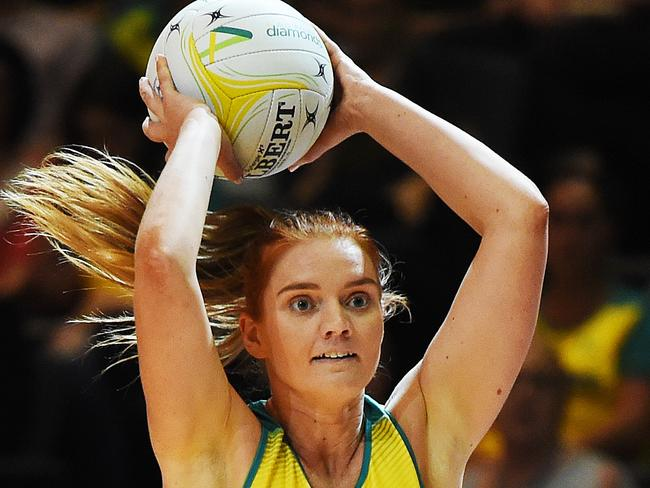 Stephanie Wood in action for Australia against New Zealand in Townsville. Picture: Zak Simmonds