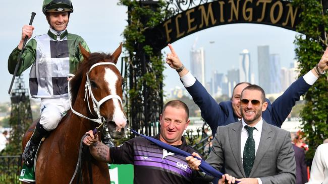 Brae Sokolski (right) after Kings Will Dream's win in the Turnbull Stakes. Picture: AAP