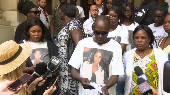 Distraught father of slain teenager Laa Chol speaks outside court after her murderer is sentenced to 20 years