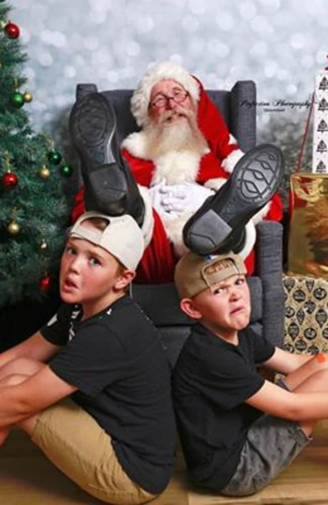 Santa and Brothers Jaylan and Blake Simms. Pic by Perfection Photography Queensland.