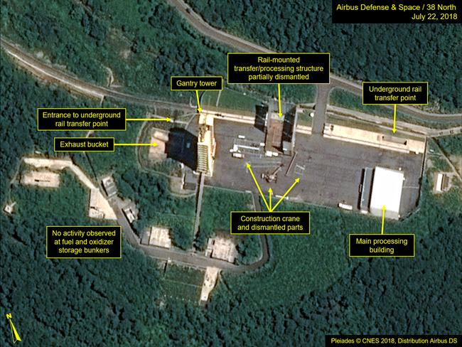 This July 22, 2018, satellite image released and annotated by 38 North shows the partial dismantling of the rail-mounted transfer structure, at the Sohae launch site in North Korea. Picture: AP