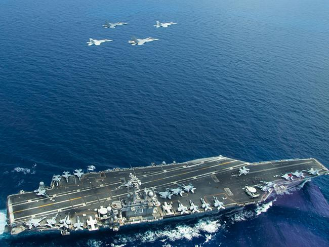 The aircraft carrier USS Carl Vinson is operating in the South China Sea. Picture: US Navy