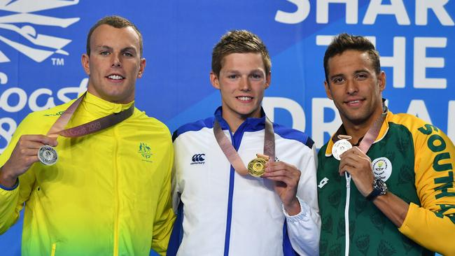 Kyle Chalmers with his silver, Duncan Scott and Chad Le Clos. Picture: AAP