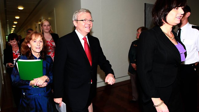A smiling Kevin Rudd emerges from the caucus room after losing the leadership challenge. Picture: Gary Ramage
