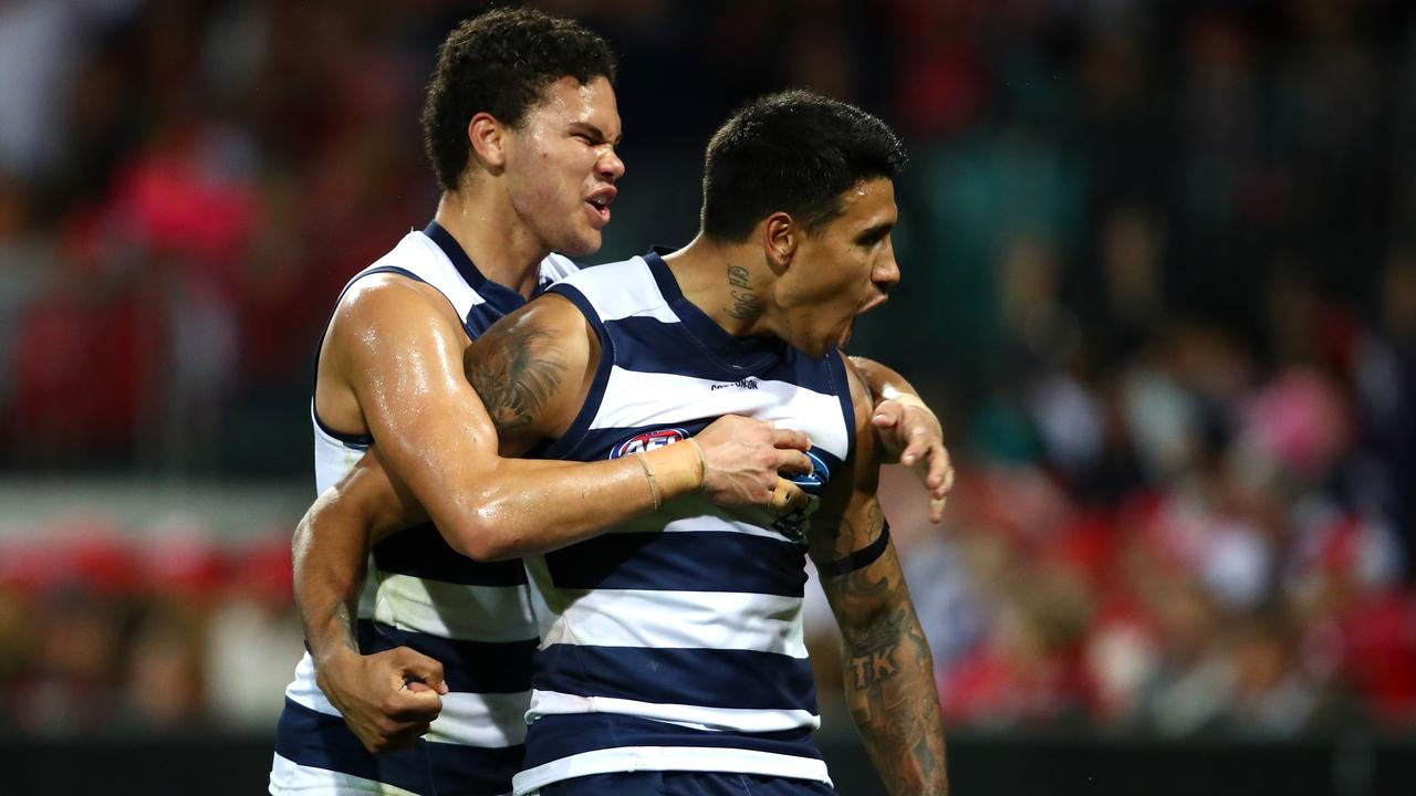 Tim Kelly sealed the match for Geelong. Photo: Cameron Spencer/Getty Images